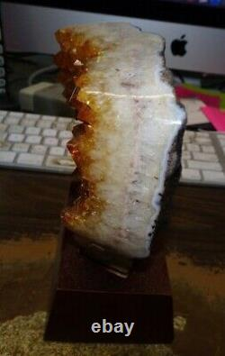 Lg. Polished Citrine Crystal Cluster Geode From Brazil Cathedral W' Wood Base