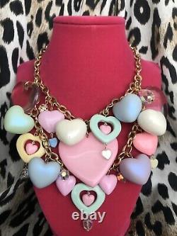 Luly Lu Sugar Free HUGE Pastel Lucite Puffy Heart Cluster Swarovski Necklace