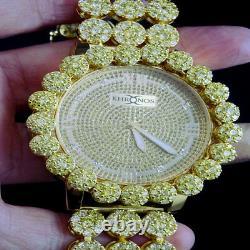 Men Ice House Real Diamond Joe Rodeo Canary Gold Tone Finish Cluster Bezel Watch