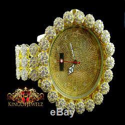 Men's Lab Diamond Yellow Gold Finish Khronos Joe Rodeo Cluster Bezel Icy Watch