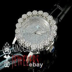 Mens Khronos White Gold Finish Lab Diamond Joe Rodeo Cluster Bezel Iced Watch