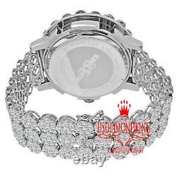 Mens White Gold Tone Lab Diamond Flower Cluster Khronos Custom Band Bezel Watch