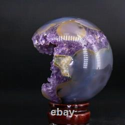NATURAL Amethyst Geode Sphere Crystal Cluster Ball Healing Energy Decor Q45