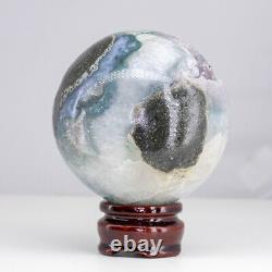 NATURAL Amethyst Geode Sphere Quartz Cluster Ball Healing Energy Decor Gift Q80