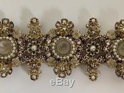 NWT Chanel Crystal Pearl Flower Cluster CC Logo Gold Tone Bracelet with Box $2100