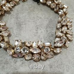 NWT J. Crew Necklace Glacier Statement Clear Gold Rhinestone Crystal Cluster NEW
