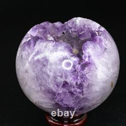 Natural Amethyst Geode Sphere Crystal Cluster Ball Healing Energy Decor Q25