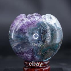 Natural Amethyst Geode Sphere Quartz Cluster Ball Healing Energy Ornaments Q118
