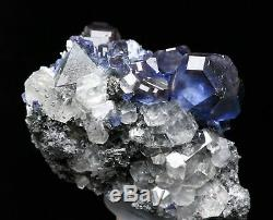 Natural Clear Blue Cube Fluorite Calcite Quartz Crysal Cluster Mineral Specimen