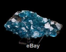 Natural Clear Blue Cube Fluorite Quartz Crystal Cluster Mineral Specimen, China