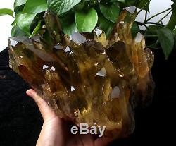 Natural Clear Smoky Citrine Quartz Point Crystal Cluster Healing Mineral 7.3lb