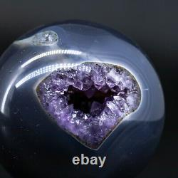 Natural Geode Sphere Crystal Cluster Ball Decor Amethyst Reiki Healing Stand Q2