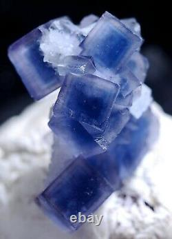 Natural Rare Clear Blue Cube Fluorite CRYSTAL CLUSTER Mineral Specimen 8g