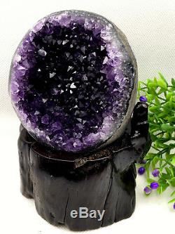 Natural Uruguay Deep Purple Crystal Quartz Amethyst Geode Clusters +Stand A19
