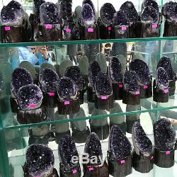 Natural Uruguay Deep Purple Crystal Quartz Amethyst Geode Clusters +Stand A28