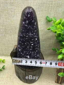 Natural Uruguay Deep Purple Crystal Quartz Amethyst Geode Clusters +Stand A34
