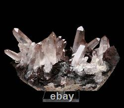 Natural White Quartz Crystal Cluster & Specularite Healing Stone Mineral 1.94lb