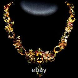 Natural! Yellow Beryl, Citrine, Quartz, Amethyst, Tourmaline. 925 Sterling Necklace