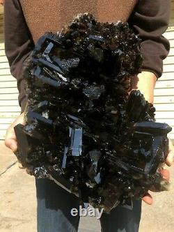 Natural beautiful Top Large Raw black Crystal Cluster Black Quartz Cluster