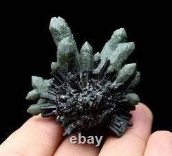 Natural beauty rare green crystal cluster & ilvaite mineral specimen/ChinaY00109