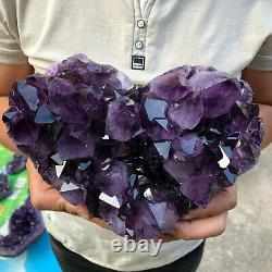 Natural smethyst quartz cluster crystal heart specimen point healing+stand 1pc