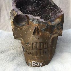 Natural stone QUARTZ Crystal Carved Skull Amethyst cluster Specimen 6826g 15lb