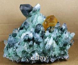 New Find Green Yellow Phantom Quartz Crystal Cluster Mineral Specimen Healing