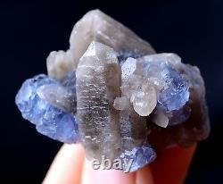 New Find Transparent Blue Cube FLUORITE & CRYSTAL CLUSTER MINERAL SPECIMEN 29g