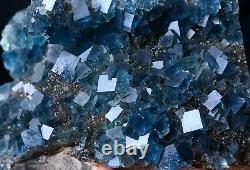 New Find Transparent Blue Cube Fluorite CRYSTAL CLUSTER Mineral Specimen 532g