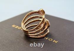 New Monica Vinader Ring Siren Cluster Ring RG Rose Quartz Size M