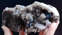 New Varieties Clear Blue Cube FLUORITE CRYSTAL CLUSTER MINERAL SPECIMEN 577g