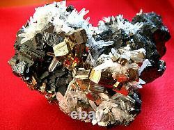 Nice Huge Gold Pyrite, Sphalerite Quartz Crystal Cluster 492 grams from Peru