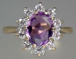 Opulent Vintage Estate 9K Gold 1.3ct Amethyst Crystal Floral Cluster Ring S 8