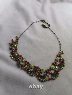 Orly Zeelon Brass Enamel & Crystal Flowers & Dangle Swag Beads Necklace