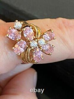 Outstanding Clyde Duneier 14K and 10K Pink Quartz Yellow Gold Ring Size 8