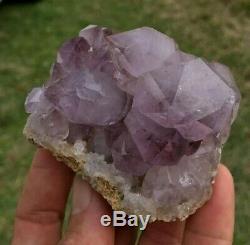 Phantom Amethyst Quartz Crystal Cluster Red Hematite Inclusions Purple Heart