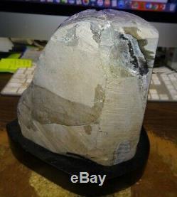 Polished Huge Amethyst Crystal Cluster Geode From Uruguay W' Wooden Base