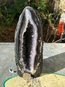Polished Smokey Amethyst Cluster Quartz Geode from Brazil (2 Lb 13 Oz)