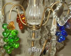 Pr Antique Candelabra Girandole LAMPS Baccarat FRUIT Clusters PRISMS Crystals