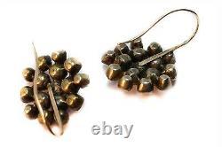 Pretty Antique Georgian Era Garnet Rock Crystal Pearl Flower Cluster Earrings