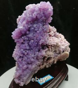 Purple AAA Botryoidal Chalcedony Grape Agate Crystal Cluster + Stand 1240G