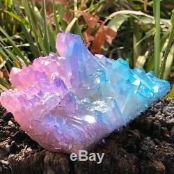 RARE 1237g Titanium Aqua Tanzine Aura Quartz Crystal Cluster Healing Specimen