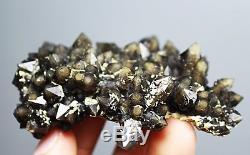 Rare skeletal Elestial BLACK QUARTZ Crystal Cluster Mineral Specimen 72g