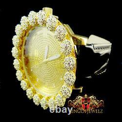 Real Diamond Mens Khronos Joe Rodeo Yellow Gold Finish Cluster Bezel Iced Watch