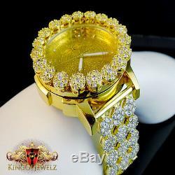 Real Diamond Yellow Gold Finish Mens Khronos Joe Rodeo Cluster Bezel Iced Watch