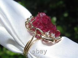 Ruby Diamond Ring 14K Yellow Estate ONE OF A KIND Genuine Rough Crystal Cluster