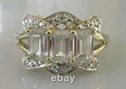 Secondhand 9ct yellow gold white quartz multi diamond cluster ring size N