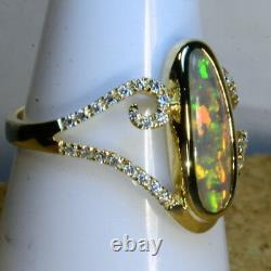 Solid Australian Black Crystal Opal & 38 diamond cluster Solid Gold Ring (15013)