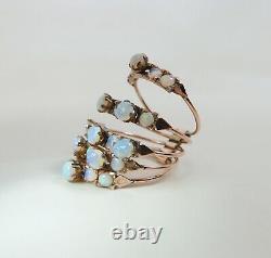 Sumptuous Vintage 14K Rose Gold Crystal Opal Five Band Stack / Harem Ring Size 6