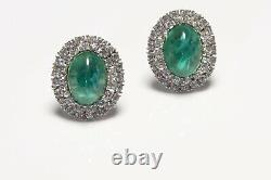 TRIFARI Alfred Philippe Rhodium Plated Green Cabochon Glass Crystal Earrings